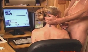 Teen Secretary sucks cock in Office