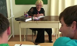 Two lucky studs have joke with old teacher