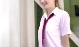 Young teen schoolgirl upon senior man