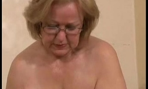 Elegant mature floozy jerking young cock. Amateur patriarch