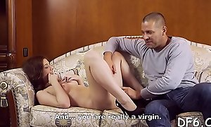 Well-hung dear boy plays alongside virgin pink pussy of his fixture