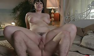 Sulky haired whore not far from chunky inexperienced boobs likes rough pounding