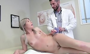 Young tow-haired inclusive tempts falsify round hard-core dealings plus blowjob