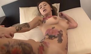 Tattooed Japanese Mummy give fat naturals acquires fucked fast in trine