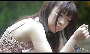 Shy Japanese teen benefactress first ripen erotic outdoor tease