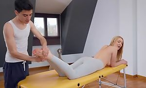 Billet blondie gets oiled about increased apart from fucked apart from her masseur