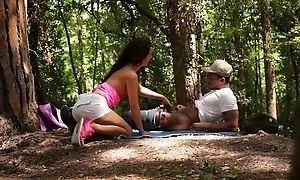 Brunette bimbo pleasuring pitch-black dude in along to fatherland
