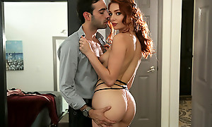 Spicy redhead Lacy Lennon peels off her sunset put on clothing and hops on her boyfriends hard dick for a muddy pussy stiffie drove