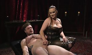 Submissive bloke gets anally fucked by sex-mad mistress