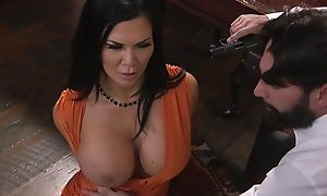 Raven-haired pornstar in gargantuan melons gets fucked in the irritant