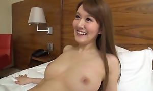 Slim Asian lady sucks and rides lover's fast cock